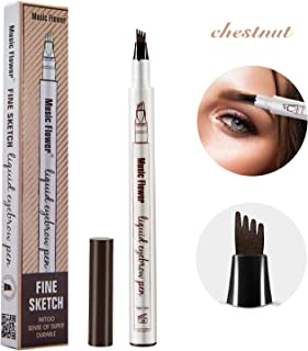 Tattoo Eyebrow Pen with Four Tips Waterproof, Long Lasting Smudge-Proof Natural Hair-Like Defined Chestnut All Day (Chestnut)