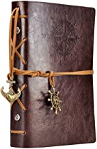 Leather Writing Journal Notebook, EvZ 7 Inches Vintage Nautical Spiral Blank String Diary Notepad Sketchbook Travel to Wri...