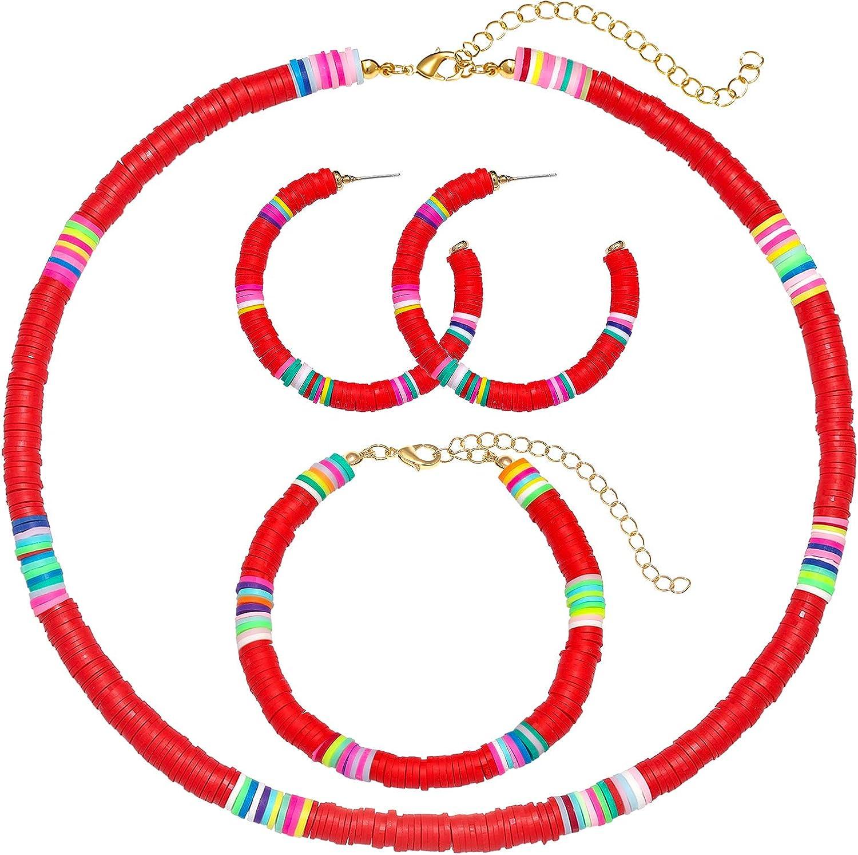 ZOLEAROPY Heishi Beaded Choker Hoop Earrings Stackable Stretch Bracelet Set for Woman Girls Boho Lightweight Colorful African Vinyl Disc Beads Jewelrys Set