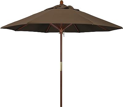 California Umbrella MARE908-5425 9-Feet Sunbrella Fabric Marenti Wood Rib Pulley Open Wood Market Umbrella, Cocoa