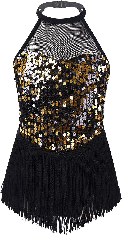 MSemis Kids Girls Shiny Sequined Cutout Back Leotard Tassel Tutu Dress Modern Jazz Latin Ice Skating Dancewear
