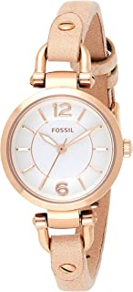 Fossil Georgia Women's Whiten Dial Leather Band Watch - Es3745, Beige Band, Analog Display