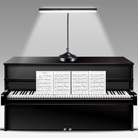 NovoLido - 10W Lampe de bureau LED Piano Light avec Base et Pince Interchangeable, 2 en 1 Lampe de Table Protection des Yeux, 3 Modes de Couleur et Gradation en Continu, Bras Flexible à 360 °, Noir
