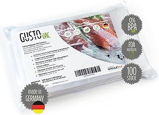 GustoVac premium vakuumpåse – 100 st. 16 x 25 cm – Made in Germany – För alla vakuumapparater – präglad struktur – Sous-Vi...