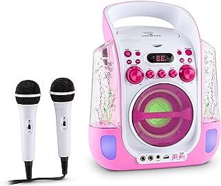AUNA Kara Liquida - Chaîne karaoké, Effet Lumineux, Lecteur CD Polyvalent, Port USB Compatible MP3, Sortie vidéo, 2 Microp...