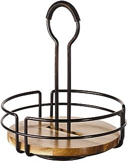 Gourmet Basics by Mikasa Handover Acacia Wood Rotating Condiment Caddy, One Size, Antique Black