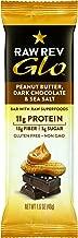 Raw Rev Glo Vegan Gluten-Free Protein Bars - Peanut Butter Dark Chocolate & Sea Salt 1.6 ounce (Pack of 12) 11g Protein, 3g Sugar, 13g Fiber, Vegan, Plant-Based Protein, Gluten-Free Snack Bar