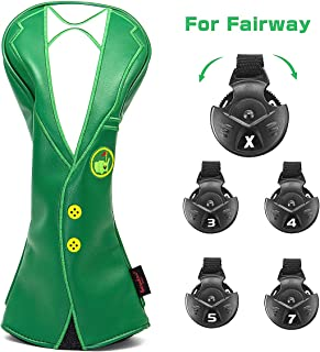 barudan golf Green Jacket Driver Headcover Cover 460cc,3 Fairway Wood Headcover Exchangeable,Rescue Utility Headcover,Golf Wood Head Covers Set for Taylormade Burner M6 M2