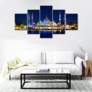 Yatsen Bridge 5 Panels Modern Ahmed Mosque Painting for Living Room Home Decor Prints and Poster Sultan Istanbul Blue Mosque Pictures Wall Decoration Framed Hanging Ready to Hang(60''W x 32''H)