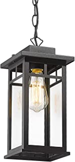CALDION Outdoor Pendant Light Fixture, 1-Light Porch Hanging Lantern Lights in Balck Finish with Clear Glass Shade, Outdoo...