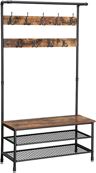 VASAGLE Industrial Coat Rack Storage Bench Pipe Style Hall Tree With 9 Hooks Multifunctional Sturdy Iron Frame Large Size UHSR47BX