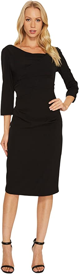 3/4 Sleeve Tucked Draped Dress