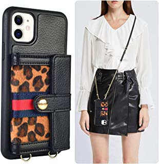 JLFCH iPhone 11 Wallet Case, iPhone 11 Crossbody Case Leopard Print with Zipper Credit Card Slot Holder Wrist Strap Lanyard Protective Women Girl Purse for iPhone 11 6.1 inch - Black
