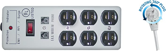 ED70586 Surge/Modem Protector, Flat Rotating Plug, 6 Outlet, Gray, Metal, Commercial Grade, Power Cord, 25-Feet