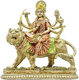 Hindu Goddess Durga Statue - Indian God India Murti Idol Figurine- Home Temple Puja Sculpture - Durga On Tiger Figurines -...