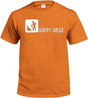 Happy Hiker T shirt-Hiking climbing outdoors adventure T-Shirt - Mens/Womens-Pick T-Shirt Color, Size and Design Color
