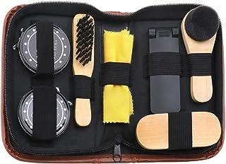 مجموعة تلميع الأحذية، 8 قطع، فرشاة قماش تلميع للفرش لرحلات العمل للرجال والنساء مع طلاء حذاء أسود وقنطي