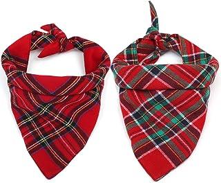 Yu-Xiang 2 Pack Red Green Stripe Dog Bandana Pet Neck Dress Scarf Bib Christmas Headwear Large Dogs Costumes Pets Lattice ...