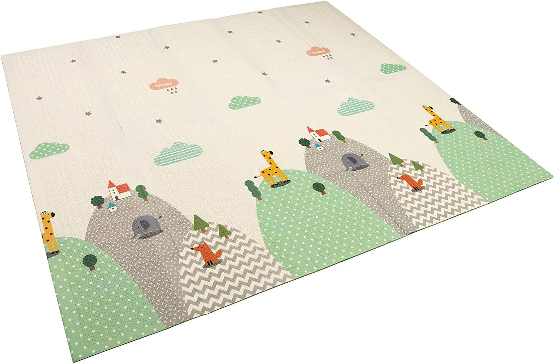 dimensioni: 150 x 200 cm lavabile TT Home reversibile colore: bianco ABC Tappetino pieghevole per bambini