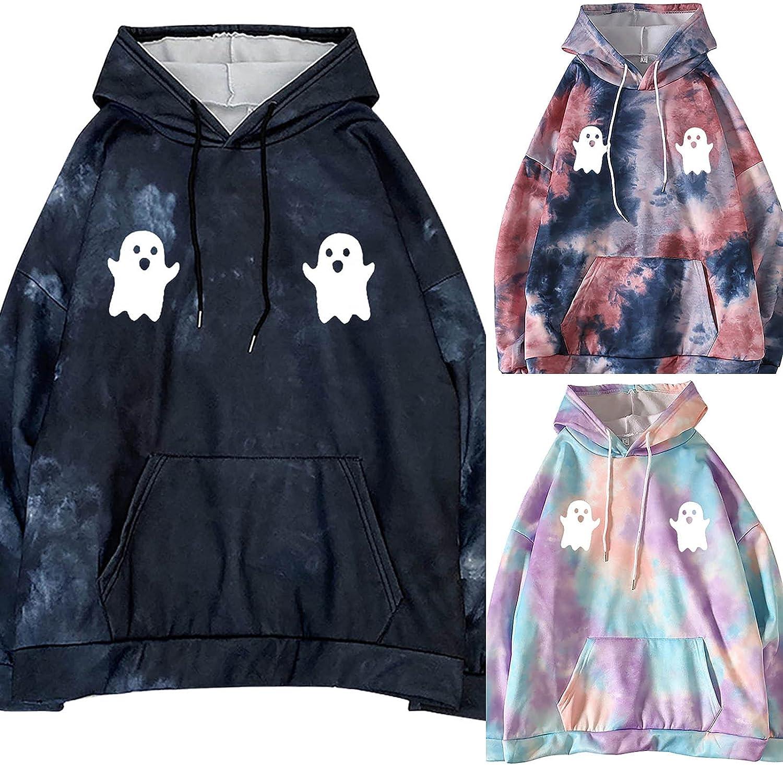 BOXIACEY Women's Hoodie Fashion Tie-dye Halloween Printed Sweatshirts Casual Long Sleeve Drawstring Hooded Pullover