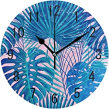ChongXiFuShi Fashion Tropical Exotic Palm Tree Monstera Leaves Round Wood Wall Clock for Home Decor Living Room Kitchen Bedroom Office School