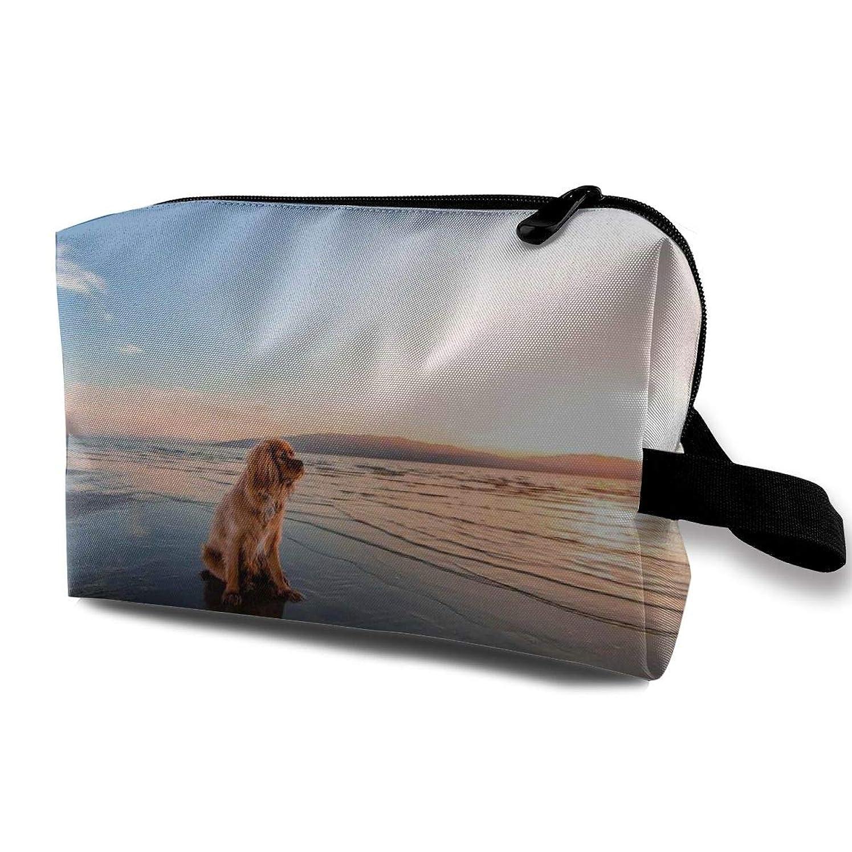 振る舞い地下鉄供給Maxpowerful 日の出浜辺の犬 大旅行化粧品ポーチバッグ化粧バッグ、収納袋ジッパー付きポータブル