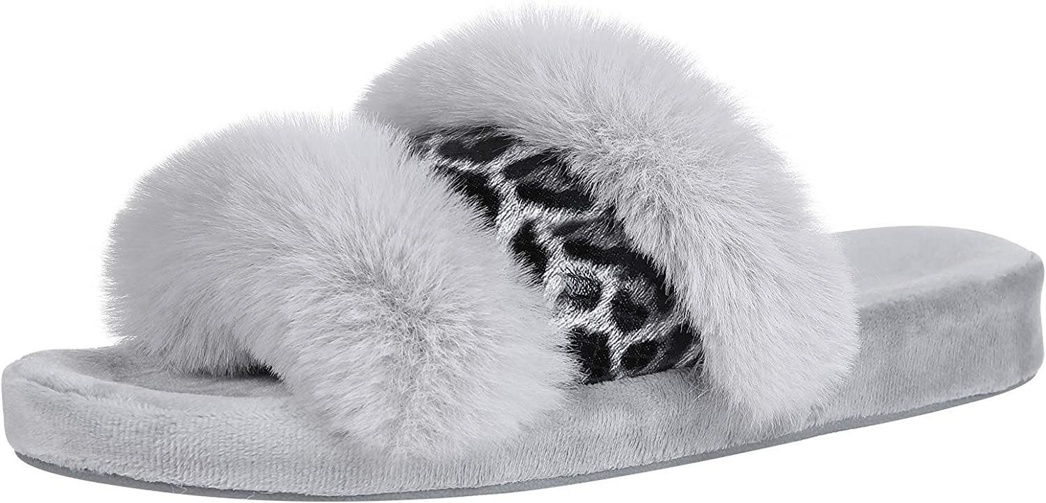 All stores are sold Fuzzy Open Toe Slippers for Women Faux Leopard Support Arch Industry No. 1 Fur