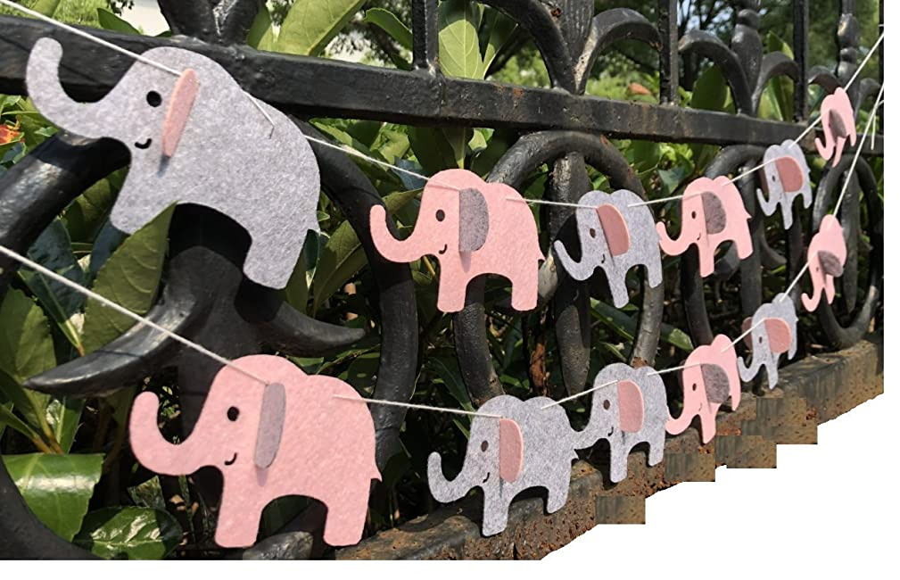 Elephant Banner Decorations Party Supplies Elephant Baby Shower Garland (Pink Grey 12 Pcs)