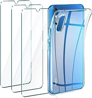 comprar comparacion Leathlux Funda Xiaomi Redmi 9A + 3 x Protector de Pantalla Xiaomi Redmi 9A, Transparente TPU Silicona Funda + Cristal Vidr...