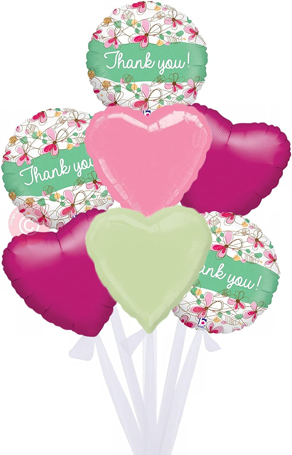 Floral Thank You Holographic  Inflated Thank You Helium Balloon Delivered in a Box  Bigger Bouquet  7 Balloons  Bloonaway