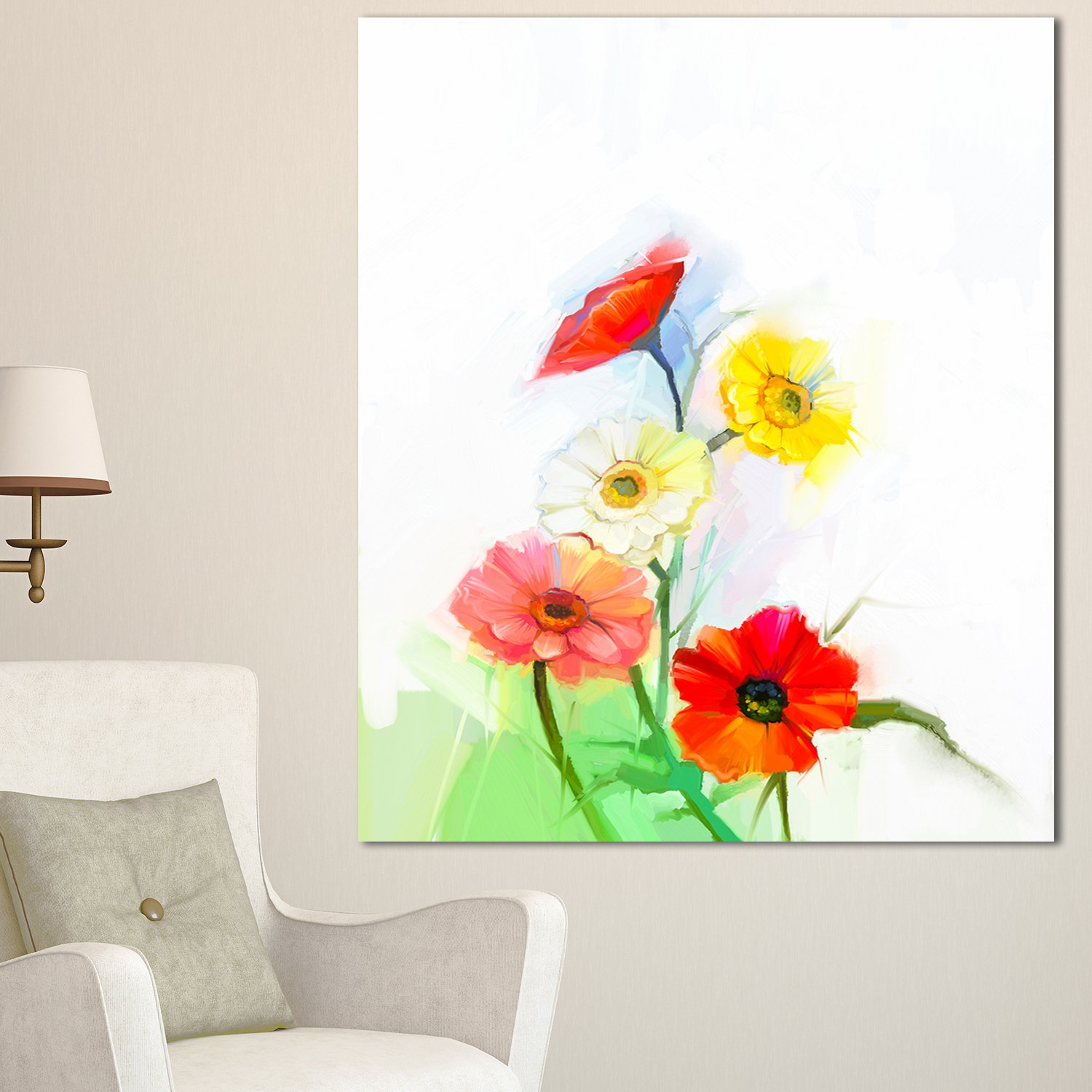 Designart Mt15023 271v Still Life Colored Gerbera Flowers Modern Floral Glossy Metal Wall Art Red 28x48 Amazon In Home Kitchen