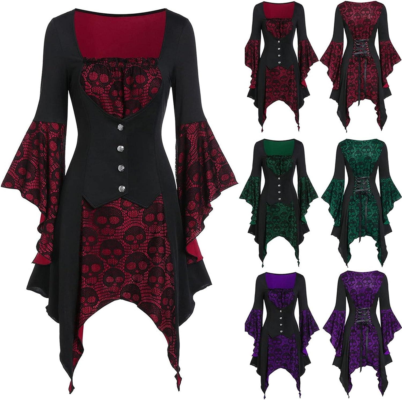 Women's Lace Patchwork Mid Dress, Vintage High Waist A Line Long