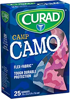Curad Camouflage Pink and Blue Fabric Bandages, 25 Count (Pack of 6)