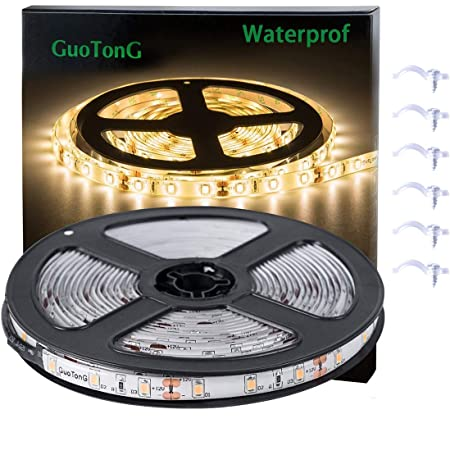 White LED Strip Lights, GuoTong Waterproof cuttable 300 SMD 2835 LED Tape, 6000K 12V 16.4ft/5m Flexible Ribbon, Kitchen Cabinet Lighting, Outdoor/Indoor (Warm White, 16.4) (Warm White, 16.4)