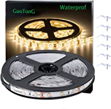 GuoTonG Warm White LED Strip Lights, Waterproof cuttable 300 SMD 2835 LED Tape, 3000K 12V 16.4ft/5m Flexible Ribbon, Kitchen Cabinet Lighting, Outdoor/Indoor