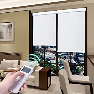 Roller Blinds Motorized Blackout Cordless Thermal Shades with Remote Control & Rechargeable Wireless UV Protection Window Blinds White 27 x 72 Inch