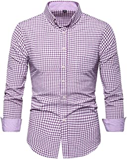 SPE969 Men's Checked Button Up Shirt,2 Colors Pink Blue Printed Long Sleeve Shirts Slim Comfortable Long Sleeve Shirt