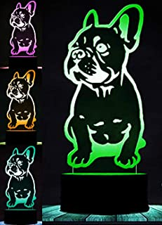 3D French Bulldog Dog Animal Night Light Puppy Table Lamp Decor Table Desk Optical Illusion Lamps 7 Color Changing Lights LED Table Lamp Xmas Home Love Brithday Children Kids Decor Toy Gift