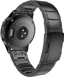 "Garmin Fenix 5 バンド - ATiC Garmin Fenix 5/forerunner 935用ステンレス製 高級腕時計ストラップ/バンド 交換ベルト 腕幅:5.12""-8.67""(Fenix 5X/Fenix5Sに対応ない) Black"