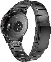 MoKo Correa de Reloj para Garmin Fenix 6 / Fenix 6 Pro/Fenix 5 Quick Fit 22mm, Correa de Banda de Reloj de Repuesto de Acero Inoxidable - Negro