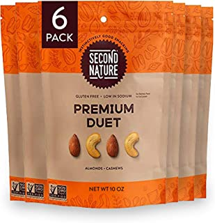 Second Nature Premium Duet Nut Mix Snack Blend, Gluten Free - 10 oz Resealable Standup Pouch (Pack of 6)