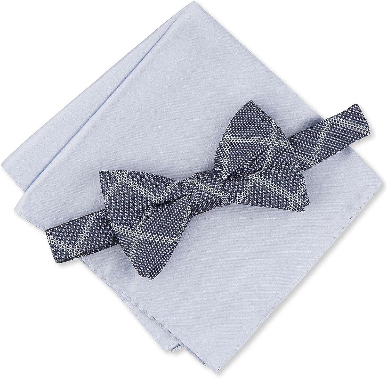 Alfani Men's One Pre-Tied Bow Tie Pocket Square Set Silk Blue One Size