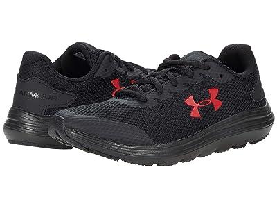 Under Armour Kids Surge 2 (Big Kid) (Black/Black/Red) Boys Shoes