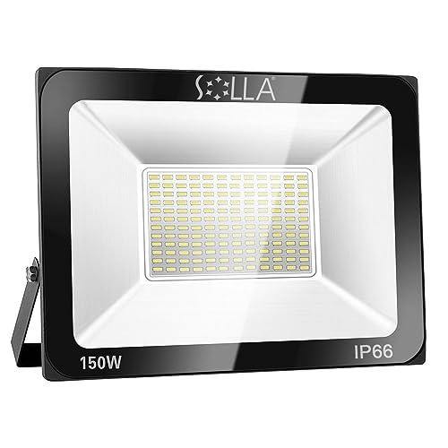 SOLLA Projecteur LED 150W, IP66 Imperméable, 12000LM, Eclairage Extérieur LED, Equivalent à Ampoule Halogène 800W, 6000K Lumière Blanche du Jour, Eclairage de Sécurité