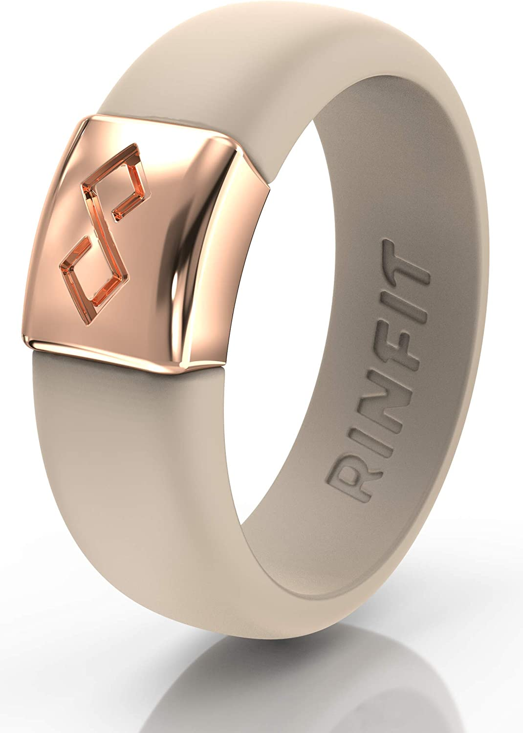 Rinfit Silicone Rings with Metal for Men and Women. Flexible & Comfortable Wedding Engagement Bands. U.S. Design Patent Pending