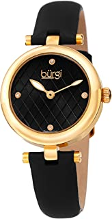 Burgi Women's BUR196 Diamond Accented Argyle Dial Watch - Comfortable Leather Strap - in a Gift Box
