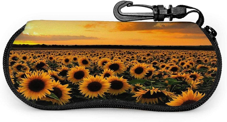 Srupiomg Sunflower field landscape Ultra Light Portable Neoprene Zipper Sunglasses Eyeglass Soft Case with Belt Clip Glasses Case with Carabiner