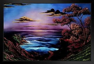 Bob Ross Ebony Sea Art Print Painting Black Wood Framed Art Poster 14x20