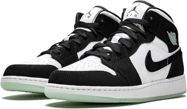 Amazon.com: Jordan Air 1 Mid Se Gs (Blanco/Negro-Verde Azulado ...