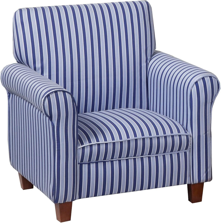 Kinfine Juvenile Stripe Print Club Chair, bluee